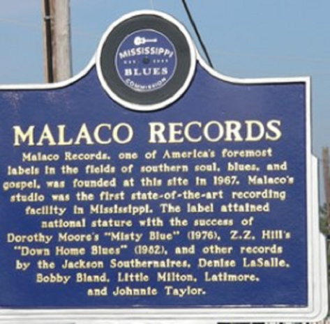 Photo of land marker for historic Malaco Records. Courtesy of Soultrain.com/blog