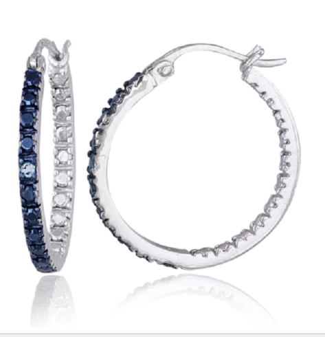 DB Designs Sterling Silver Blue Diamond Accent 20mm Hoop Earrings $23.84 from overstock.com.