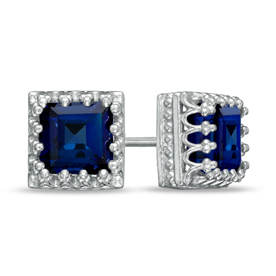 6.0mm Princess-Cut Lab-Created Blue Sapphire Crown Earrings in Sterling Silver