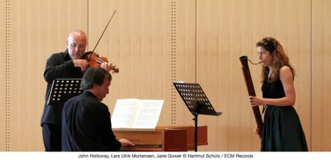 People like Bach and Handel sound very different when played on the kind of instruments they intended to be used. (Pictured left to right) John Holloway, Lars-Ulrik Mortensen, Jane Gower.)