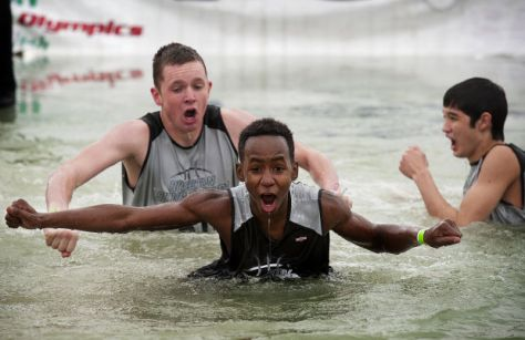 Young plungers braving the frigid waters. Special Olympics Plunge, Utah 2012. (Photo courtesy of heraldextra.com. )