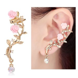 Pink Rose Diamond Ear cuff Earrings stud Punk Style Ear Wrap(left ear)